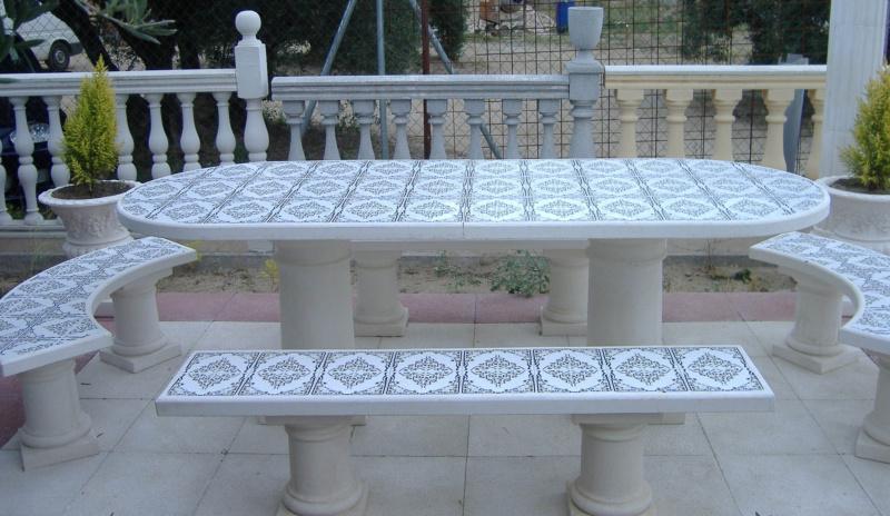 Mesas y bancos para jardines prefabricados piedra for Bancos de granito para jardin