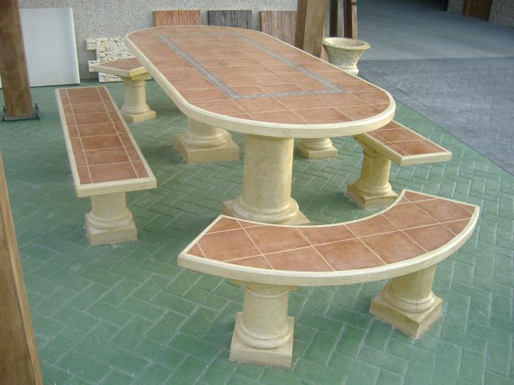 Mesas y bancos para jardines prefabricados piedra artificial ...