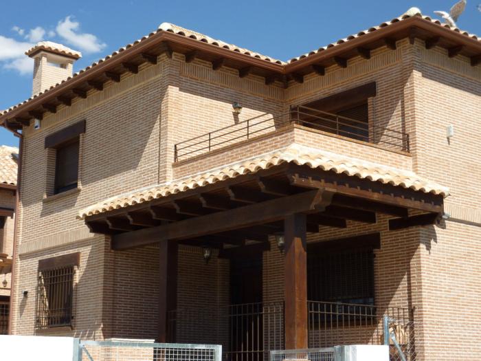 P rgolas porches cenadores prefabricados hormig n - Imitacion madera para fachadas ...