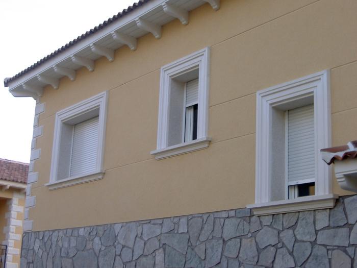 Recercados ventanas puertas r sticos lisos piedra artificial prefabricados - Piedra artificial para fachadas ...