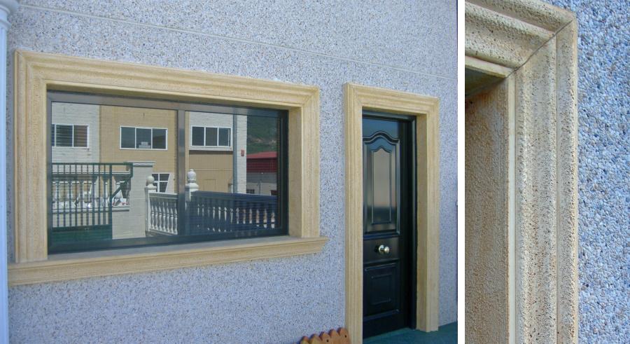 recercado ventana y puerta color ocre